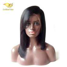 fast shipment top quality color 1b sexy 14in short bob with bangs human remy hair wigs