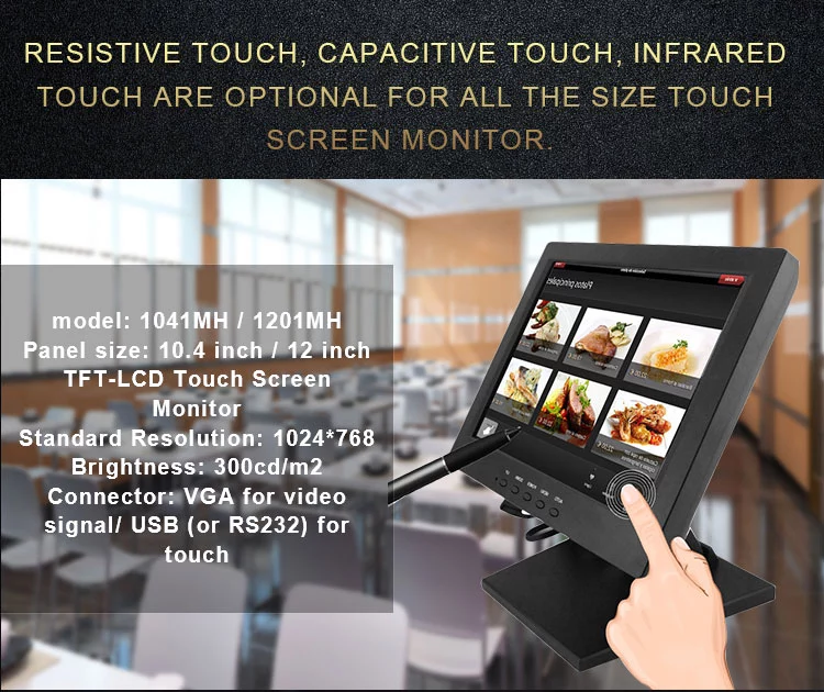 RS232 / USB port 19 Inch Open Frame Touch Monitor Wms Pog Monitor touch screen monitor