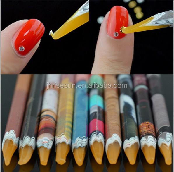 RISESUN High Quality Nail Art Dotting Tool Rhinestone Picker Wax Resin Pencil 3D Nail Art Pen