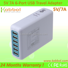 35W 6 Port 7A USB adapter for iPhone 5s, 5c, 5, 4s, 4; iPad 5, Air, mini; ipod Touch, nano; Samsung Galaxy S4, S3,,