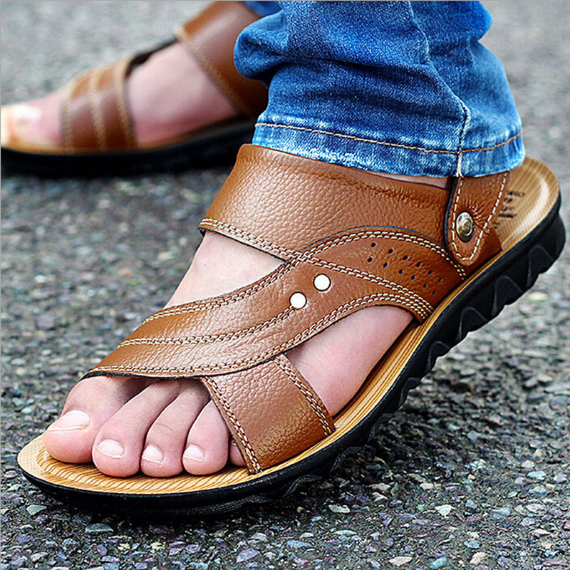 New arrival 2016 summer male sandals men genuine leather shoes open toe sandals slippers fashion casual cowhide beach shoes