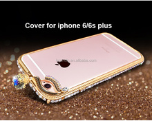 Fashion Design Luxurious Bling Crystal Diamond Alloy Metal Frame Phone Cover Bumper Case For iPhone 6/6s Plus