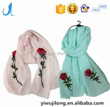 custom women cotton hijab scarf with embroidery badge patch rose scarves shawel