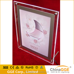 Crystal acrylic led photo frame for indoor advertising/housing decoration
