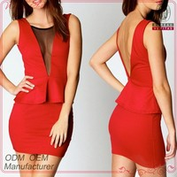 Fashion style new design sleeveless backless tight fit girls sexy night dress