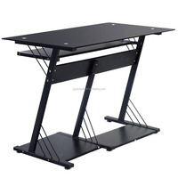 7mm tempered glass top modern office table design photos with CPU holder