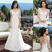 The Best 2015 Modern Sheath Off-shoulder Half Sleeve Backless Floor-length Beach Casual lace Bridal Wedding dresses 1669