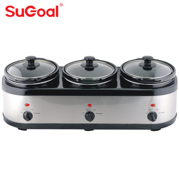 Sugoal 3 in 1 ceramic inner pot oval triple electric slow cooker