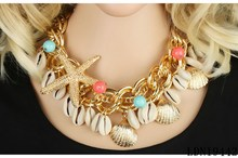 Summer sea shell necklace Gold starfish necklace Shell Starfish Peal Necklace