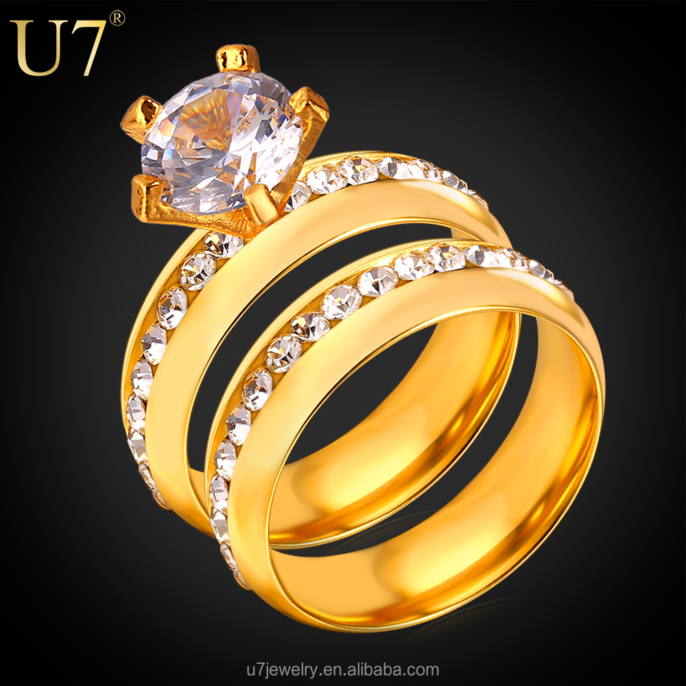 U7 18K Real gold plated bridal bands ring settings CZ diamond engagement wedding ring sets wedding double couple ring