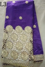 New arrival flower lace with sequins fabrics african raw silk george clothing purple