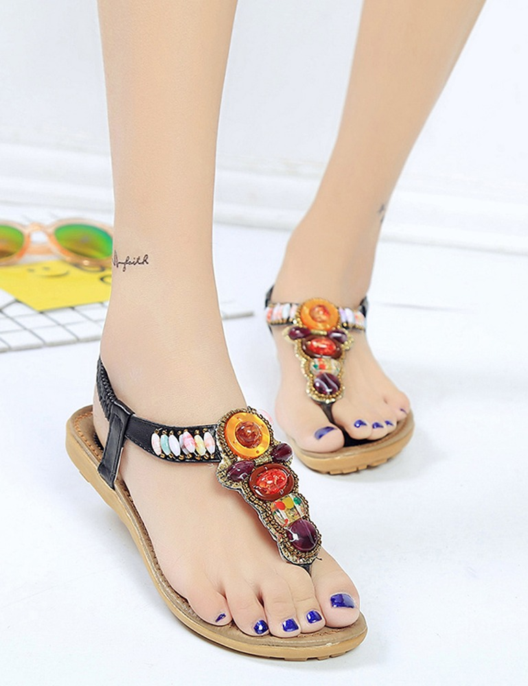 Boho Style Rhinestone Toe Post <strong>Sandals</strong>