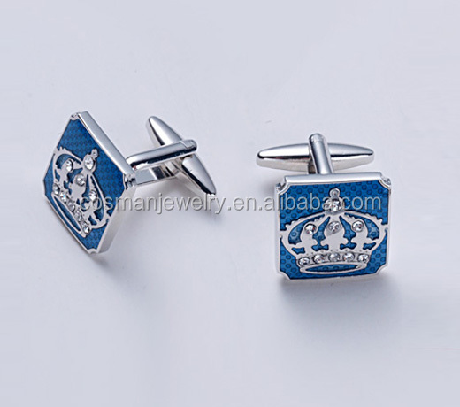 925 sterling silver crown cufflink with cz stone setting rhodium plated finish