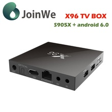 Amlogic s905X chip 4K quad core x96 smart tv box 2GB RAM 16GB ROM android 6.0 TV box X96 with w/remote from JoinWe