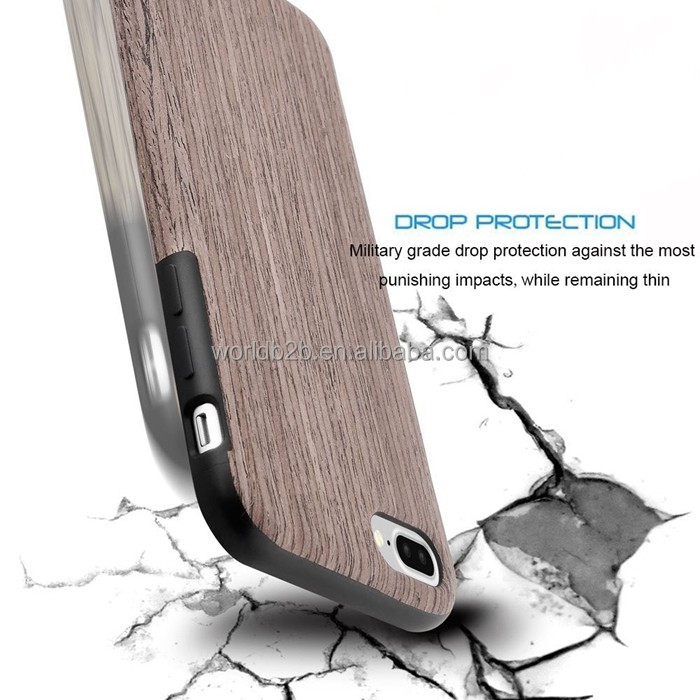 Shockproof Anti Slip Natural Cherry Wood and Soft TPU Rubber Case for Apple iPhone 7