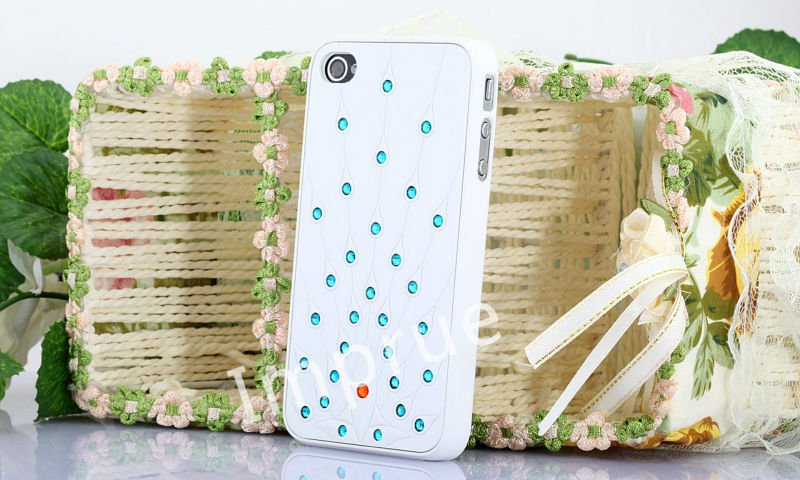 Bling Peacock Rhinestone Diamond Colorful Hard PC Mobile Phone Case Cover For iPhone 4S 4 G