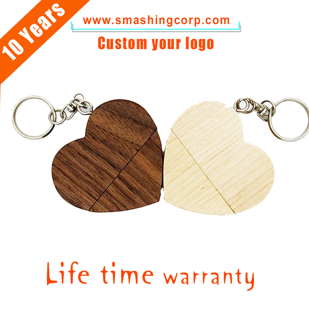 Free logo Promotional lover's gift wooden heart style usb driver 2/4gb custom own logo usb 2.0 memory stick for wedding gifts