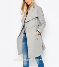 2016 hot sell European and american new fashion cheap fashion elegan plus size women overcoat with belt