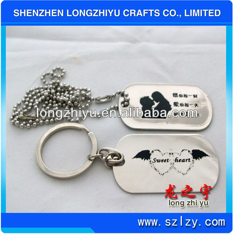 Custom lover keyring couple dog tag with ball chain romantic design key tag