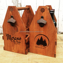 Six Bottle Wooden Beer carrier, Wooden Wine & Liquor Rustic Carrier, 6 Pack, 750mL Bottles