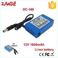 Hot selling Mini DC-168 1800mAh Li-ion rechargeable battery pack 12V/2A with cheapest price
