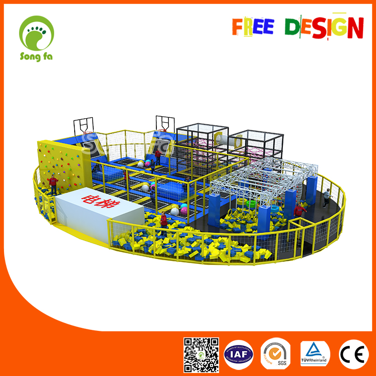 With Ninja Rope Course Trampoline Canada For Kids Oval Trampoline For Amusement Parks