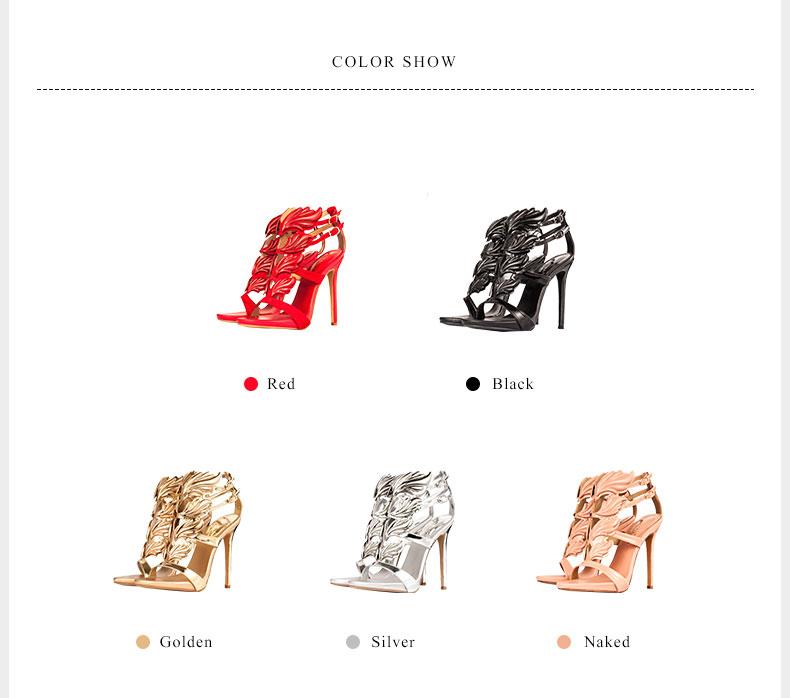 Women high heel sandals gold leaf flame gladiator shoes