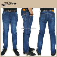 2016 vintage Guangzhou OEM high waist skinny jeans trousers wholesale cotton blue denim jeans pants for men