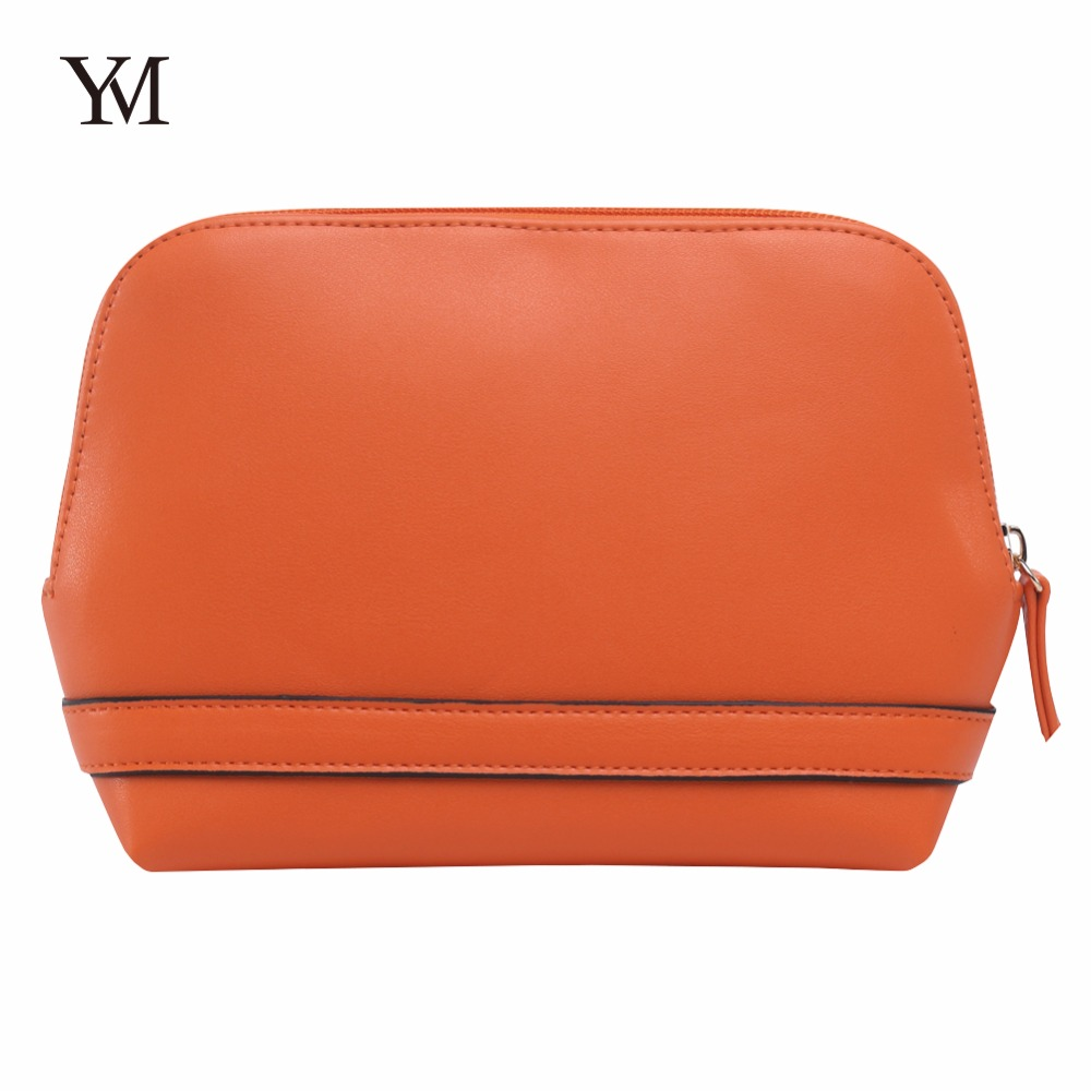 Wholesale YM&COCO cosmetic pouch , premium women <strong>orange</strong> pu leather cosmetic makeup Clutch Bag