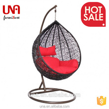 Una high quality outdoor rattan swing bed hanging egg chair indoor patio pod chair sets for adults