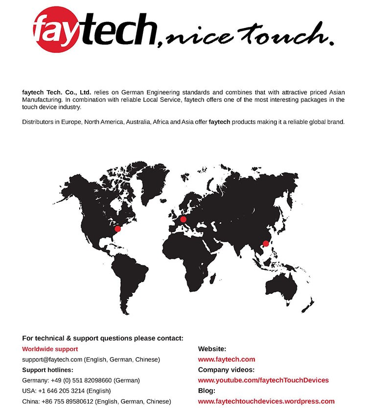 faytech 10 inch touch screen monitor with capacitive touch screen