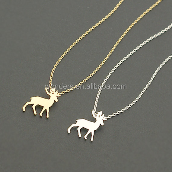 Gold Silver Plated Minimalist Elk Charm Chain Pendant Necklace For Women Stainless Steel Fashion Christmas Elements Gift Jewelry