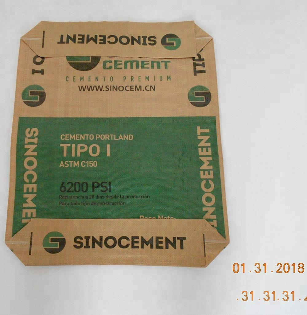 price polypropylene <strong>PP</strong> laminated plastic valve block bottom empty cement bag 50kg 25kg with Kraft paper inside liner