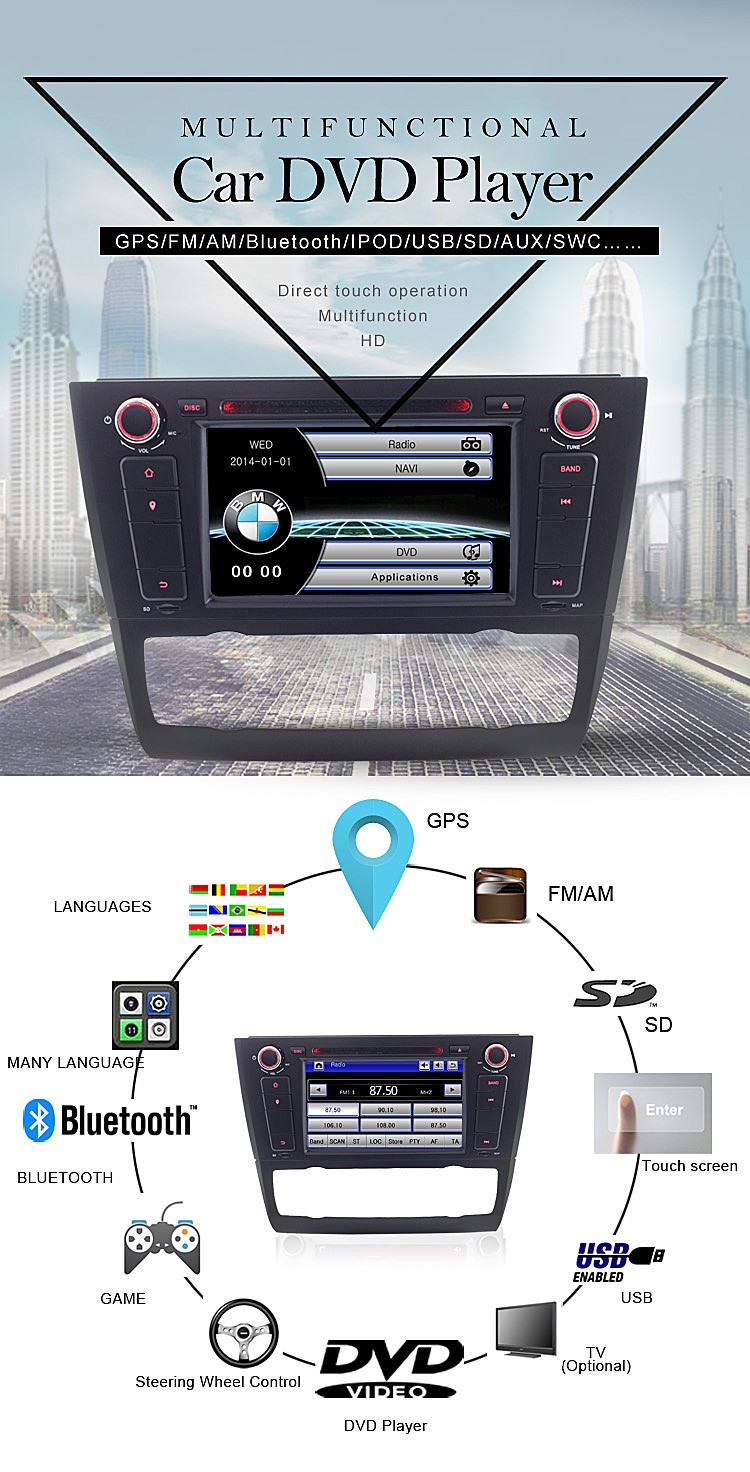 wince 6.0 car stero for new 3 series dvd player with gps navigation rearview camera