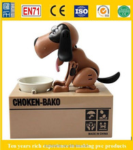 eletronics dog stealing money coin box, novelty figure coin bank, plastic piggy money box for promotion