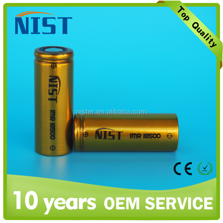 Vapor rechargeable li-ion battery golden NIST 18500 battery 3.7v 1200mAh 20A