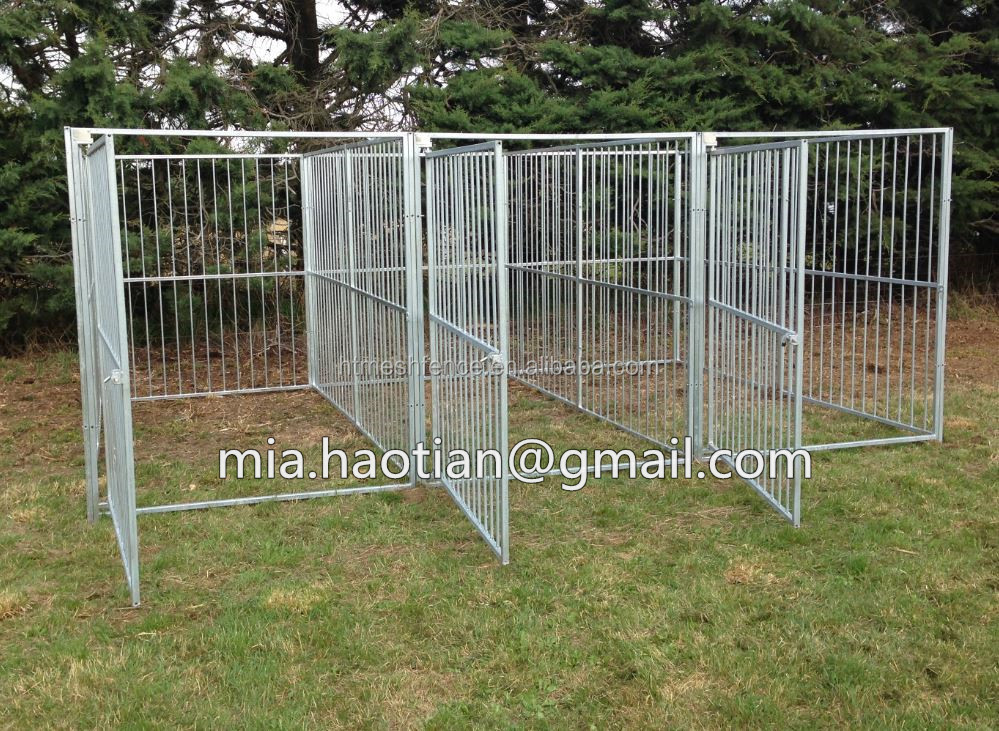 Large galvanized and welded dog kennel 4m x 3 x 1.6m building with fight guard divider triple dog run