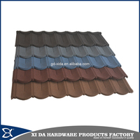 Building material colorful stone chip coated metal roof tiles , steel roofing tile sheet