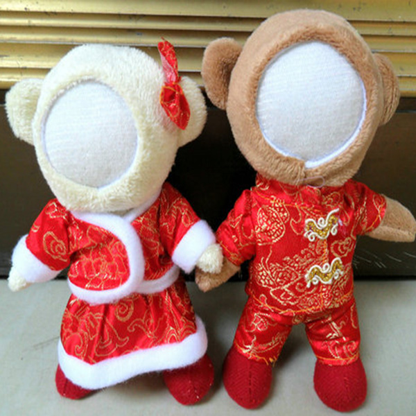 Cute Couple Tang Suit Red Bear 14CM 3D Handmade Plush Doll