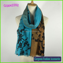 2016 light weight 100% wool peach blossom print womens shawls