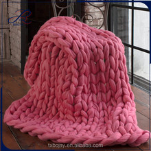 100% Australia Merino Wool Big Blanket Chunky Knit Bulky Wool Yarn Hand Knitted Blanket 50*60 inches