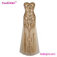Gold shining strapless fitness sexy formal wedding dress