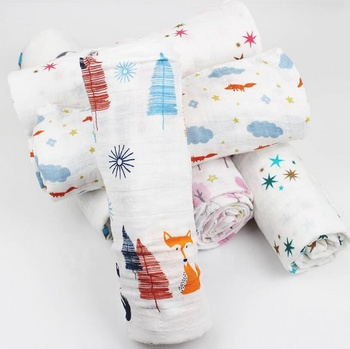 High quality Hot Selling 47 X 47 Inch Muslin Swaddle Blankets for Baby Sleep