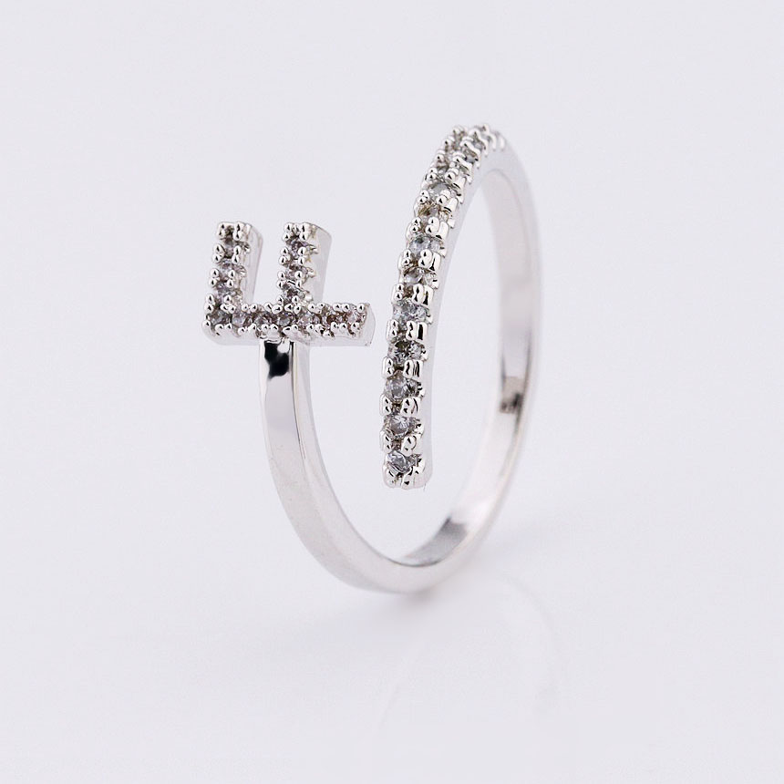 foxi wholesale cubic zirconia gold initials letter jewelry rings