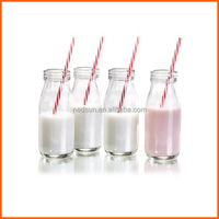 Customized clear mini glass milk bottles wholesale bottles with tubularis