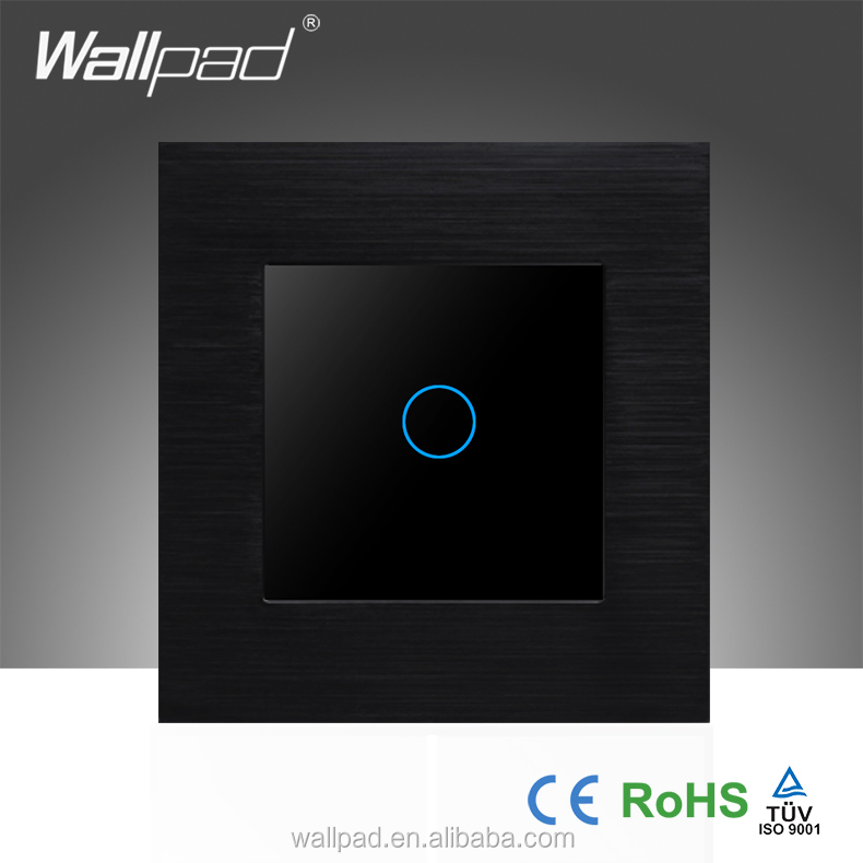 Hot Selling Wallpad 110-250V Black Aluminium Metal Frame Tempered Glass1 Gang Touch Screen Wall Switch Board
