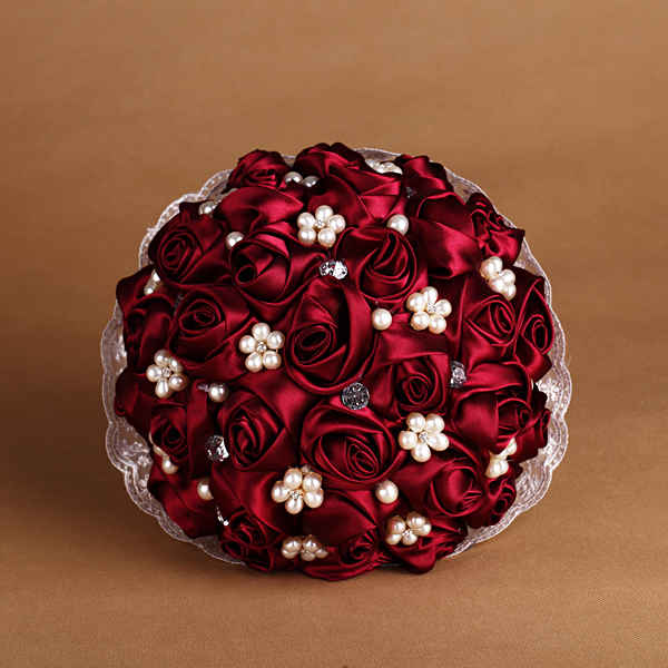 Wedding Bouquet Bounch Silk Red Rose Flowers Bouquet with Pearl Flower Heart