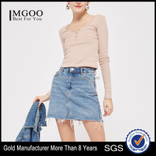 MGOO High Quality Slim Fit Blush Button Front Top Blank Women Long Sleeve Cotton Crop Tops