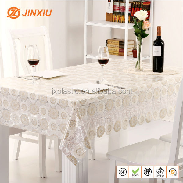 Sunflower plastic tablecloth,vinyl lace table cloth roll
