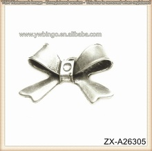 Adorable Zinc Alloy Silver Sideways Ribbon Bow Pendant Necklace For Girls Sliver Charms ZX-A26305